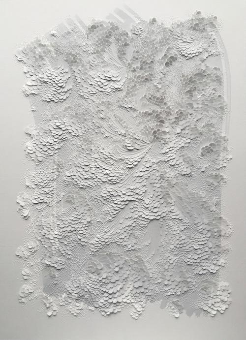Watercolor, bas-relief on vergé paper 600gr, 49,5 x 36,5 cm