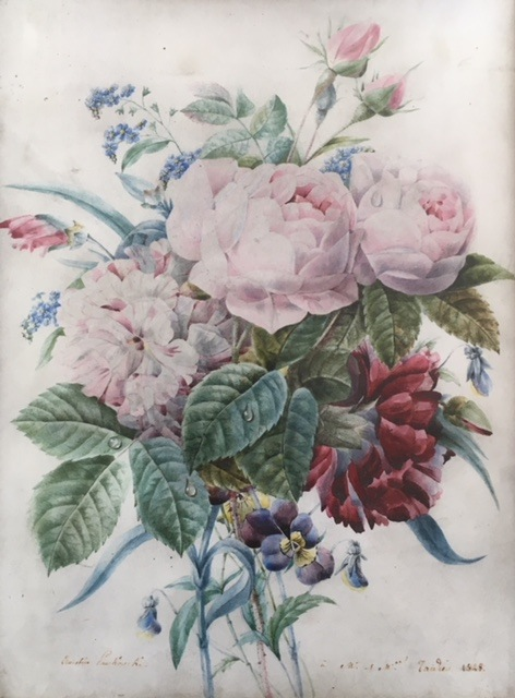 Jetée de fleurs, 1828<br> Watercolor, pencil on vellum, 31,5 x 23 cm<br> Private collection