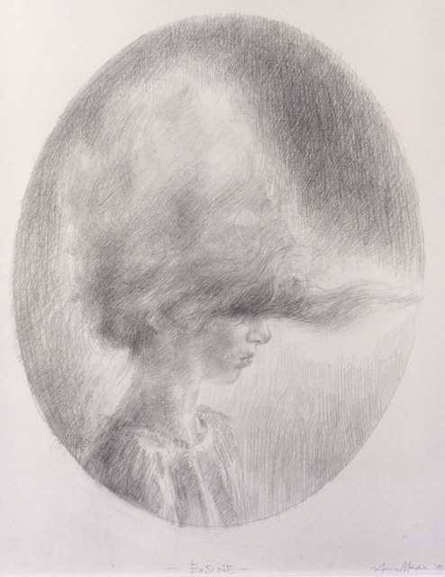 Eosine, 2015<br> Pencil on paper, 22 x 18 cm<br> Private collection